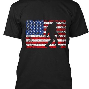 American Flag Bigfoot T Shirt 4th July