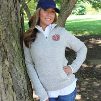 Monogrammed Knit Quarter Zip