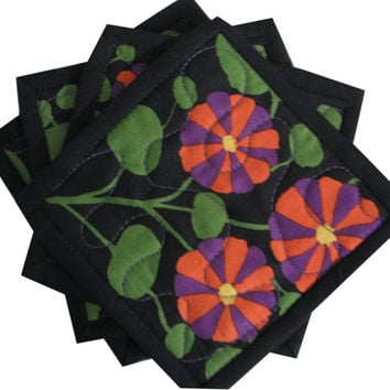Quilted Coasters in Kaffe Fassett Purple and Red Flowers