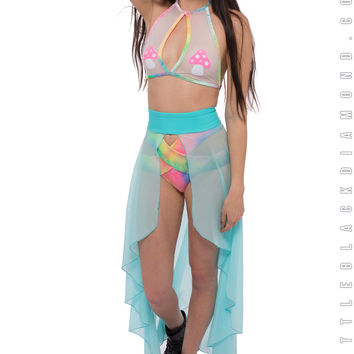 Calypso Skirt in Light Blue Mesh