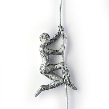 Climbing Figure on the rope - metal wall art - Unique gift - wire mesh sculpture - Climbing man sculpture - silver