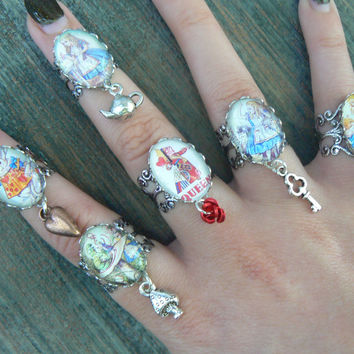 Alice charm rings Wonderland inspired cosplay midi ring ONE