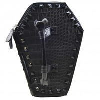 Kreepsville 666 Back In Black Studded Coffin Handbag | Punk | Gothic | Horror | Rockabilly