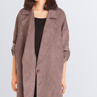 Grey Folded Sleeve Coat