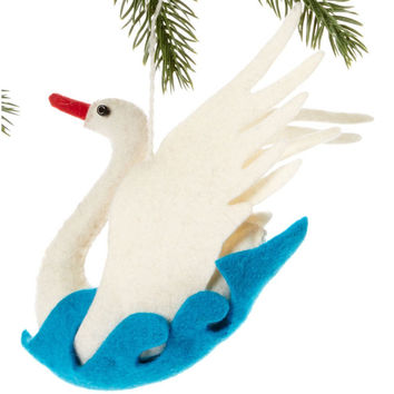 Swan Fair Trade Felt Tree Ornament