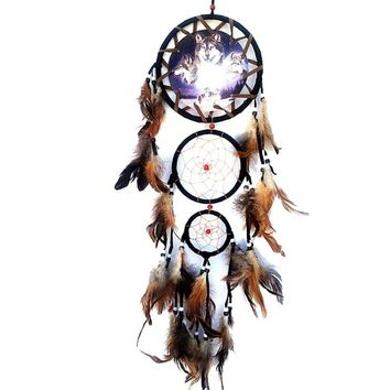 Dream Catcher with Feathers Wall Hanging Decoration Ornament Wolf Dreamcatcher