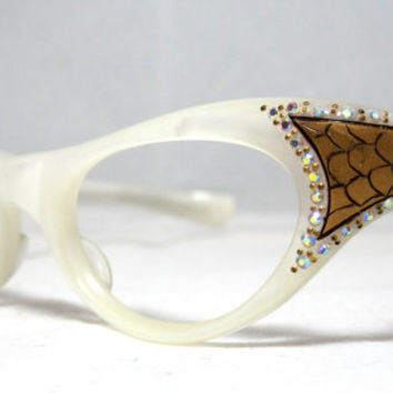 Vintage Cat Eye Glasses. Beautiful Wrap Around Cat Eyes with Rhinestones and Gold Snakeskin Designs