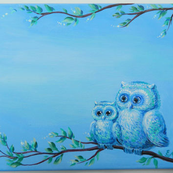 Baby name, Boy Name Canvas, kids wall art, boy nursery, boy wall art, Boy room decor, personalized canvas with owl, owl painting. boy gift