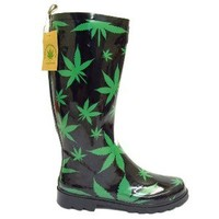 MENS FUNKY RUBBER WELLIES CANNABIS LEAF BLACK WEED WELLINGTON BOOTS 6-11
