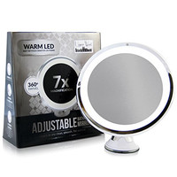 7x Magnifying Lighted Makeup Mirror. Warm LED Tap Light Bathroom Vanity Mirror. Wireless & Compact Travel Mirror