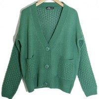 V-Neck  Green long sleeve hollow shrug sweater  Other type  Solid Pop  style zz91604301 in  Indressme