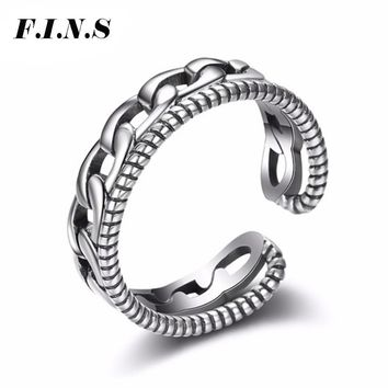 F.I.N.S Vintage Punk Double Layer Chain Cuff Rings for Women Authentic 925 Sterling Silver Statement Ring Female Fashion Jewelry