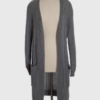 Grey Knit Two Pocket Maxi Cardigan