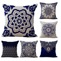 Cushion Cover Bohemian Style Cotton linen Blend Cushions Sofa Chair Cushion Square 18x18 inches Decorative Pillows