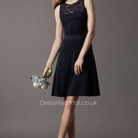 Knee Length Illusion Lace Jewel Neck Stretch Crepe Midnight Bridesmaid Dress