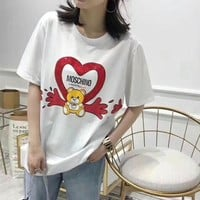 """Moschino"" Women Cute Casual Fashion Hot Fix Rhinestone Love Heart Cartoon Bear Short Sleeve T-shirt Top Tee"