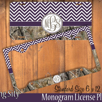 Dark Purple Chevron Camo Monogram License Plate Frame Holder Metal Wall Sign Tags Personalized Custom Vanity Plate