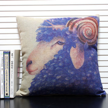 cotton linen Fabrics shade pillow Painted Fairy tale pillow sham Sheep and snails printed Pillow Cover pillow pattern cushion cover