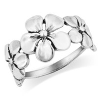 MIMI 925 Sterling Silver Triple Plumeria Flower Ring