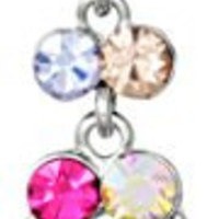 14g Surgical Steel Jeweled Sexy Dangle Chandelier Belly Button Ring