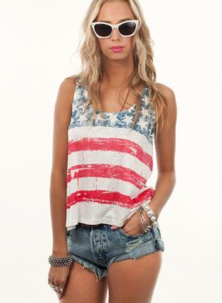 Multi Tank Top American Flag Burnout From Ustrendy Tops