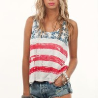 Multi Tank Top - American Flag Burnout Tank | UsTrendy