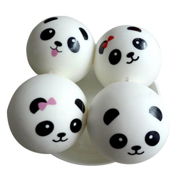 PU Cute Panda Strap Pendant Squishes Bag Parts & Accessories Key Chains Squishy Charms Kawaii Buns Bread Cell Phone/Key/Bag
