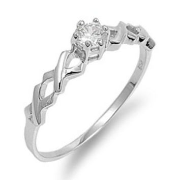 Sterling Silver CZ Twisted Engagement Ring size 4- 9