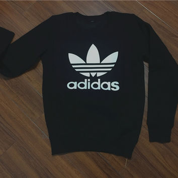 "Fashion ""Adidas"" Print Sweater Pullover Tops Sweater Sweatshirts Black"