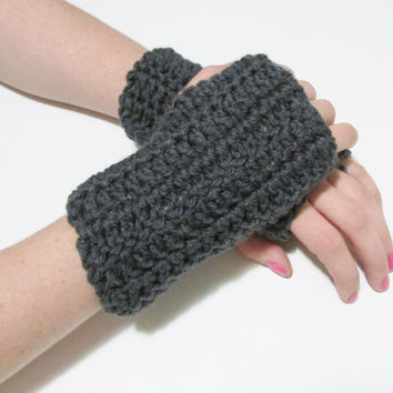 Dark Gray Wrist Warmers, Crochet Simple Fingerless Gloves, FREE US SHIPPING, Driving Gloves, Texting Gloves, Christmas Gift, Heather Grey