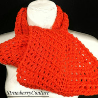 Orange Crochet Scarf, Crochet Infinity Scarf, Crochet Cowl Scarf, Chunky Scarf, Orange Scarf, Ribbed Scarf, KNOT Womens Accessories