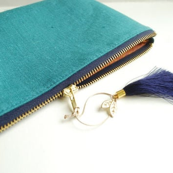 Turquoise Linen Pouch with Silk Tassel-Linen Zipper Pouch- Teal Cosmetic Bag- Travel Organizer