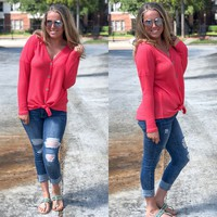 Dark Coral Long Sleeve Thermal Knit Buttoned Front