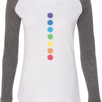 Womens Yoga T-shirt Glowing Chakras Preppy Patch Elbow Tee