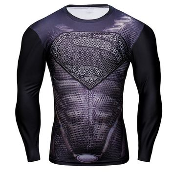 All Black Superman Long Sleeve Compression Shirt