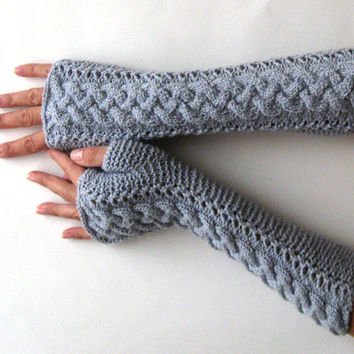 Braided Fingerless Gloves Gray Arm Warmers Wool Fingerless Mitts Winter Women Gloves Modern Cable Gloves Knit Braids Hand Warmers - KG0060