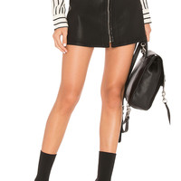 7 For All Mankind Zip Front Mini Skirt in Black