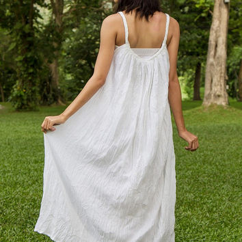 Hippie Boho Wedding Dress - White Boho Dress, Long Flowy Dress, Sundresses, Hippie dress, Plus Size Clothing, Gypsy Wedding Dress, Loose