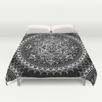 White Flower Mandala on Black Duvet Cover by Laurel Mae