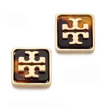 Tory Burch Resin Square Logo Studs | SHOPBOP