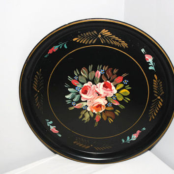 Large Round Hand Painted Vintage Tole Tray, Rustic Floral Home Decor Wall Hanging