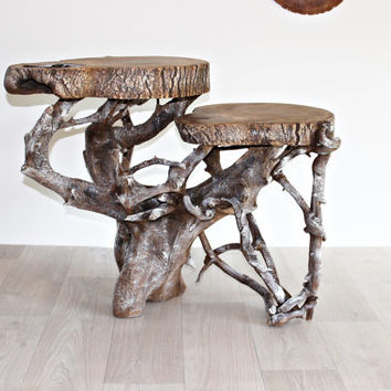 Driftwood Coffee Table Oak Wood Furniture Rustic Bench