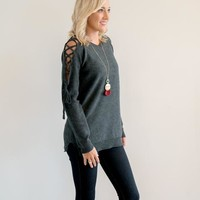 Charcoal Lace Up Sleeve Sweater | Rose & Remington