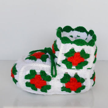Vintage Crochet Christmas Boot Christmas Decoration Candy Dish
