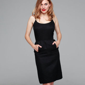 Tiffany's Cocktail Dress | vintage 1950s dress • black 50s cocktail wiggle dress