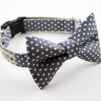 Gray Polka Dot Dog Bowtie Collar by SillyBuddy on Etsy