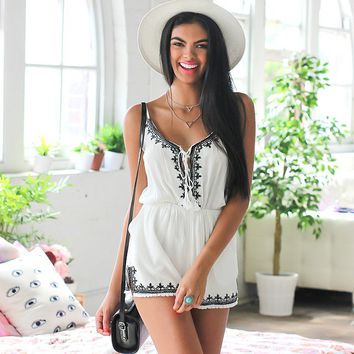 Web Of Lies Playsuit in White Print