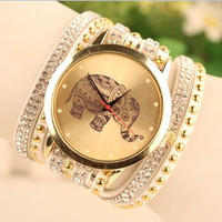 2015 New Arrival relogio feminino Luxury Vintage spining strap women bracelet quartz watch fashion watch elephant pattern = 1956964740