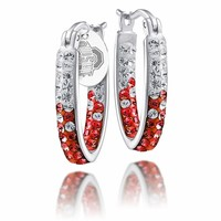 The Ohio State OSU Buckeyes Crystal Hoop Earrings. Free Shipping