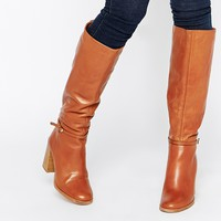 Carvela Winnie Tan Leather Knee Boots With Stacked Heel